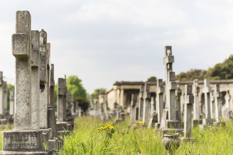 Cemetery against sky
