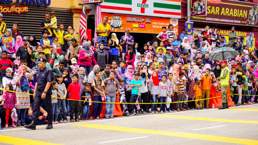 A Malaysia flag at the national independance day Celebration Country Event Freedom Holiday Patriot Patriotic Patriotism Spirit Travel Unity Banner Culture Day Editorial  Festival Flag History Independance Malaysia Malaysian Merdeka People Public