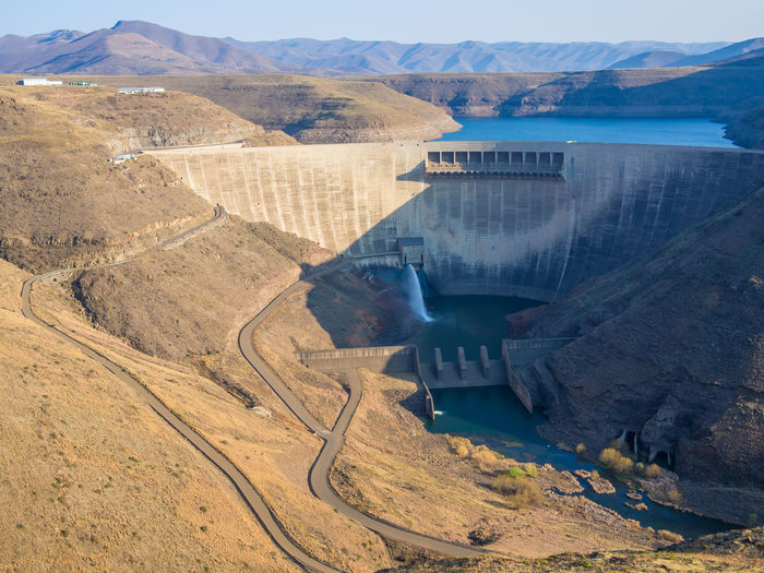 High angle view of katse dam hydroelectric power plant in mountains of lesotho, africa
