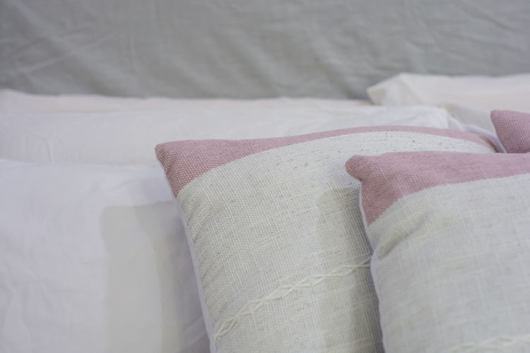 natural pillow Furniture Textile White Color Bed Indoors  Pillow No People Bedroom Domestic Room Comfortable Cushion Still Life Close-up Stuffed Sofa Cozy Home Interior Relaxation Softness Linen Clean Luxury