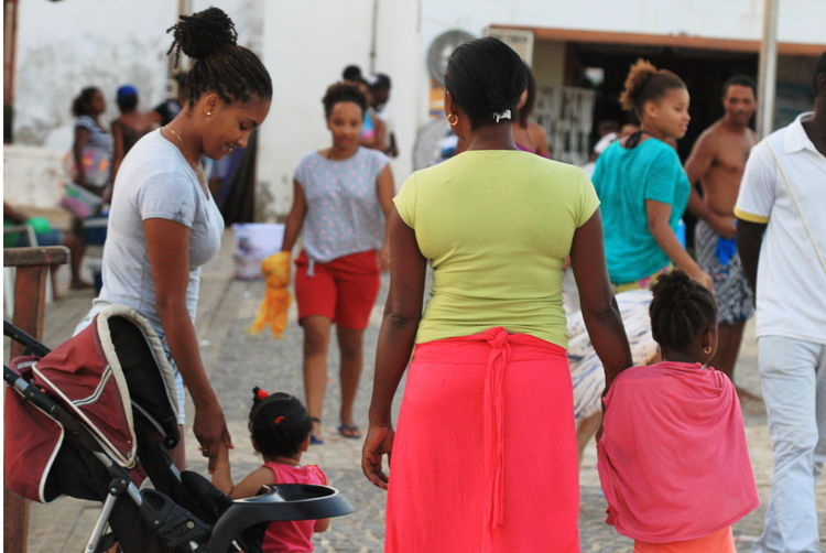 Capo Verde Group Of People Hand In Hand Mothers And Children Multi Colored People Sal Island Santa Maria Summer 2015 Togetherness Vibrant Colors Women