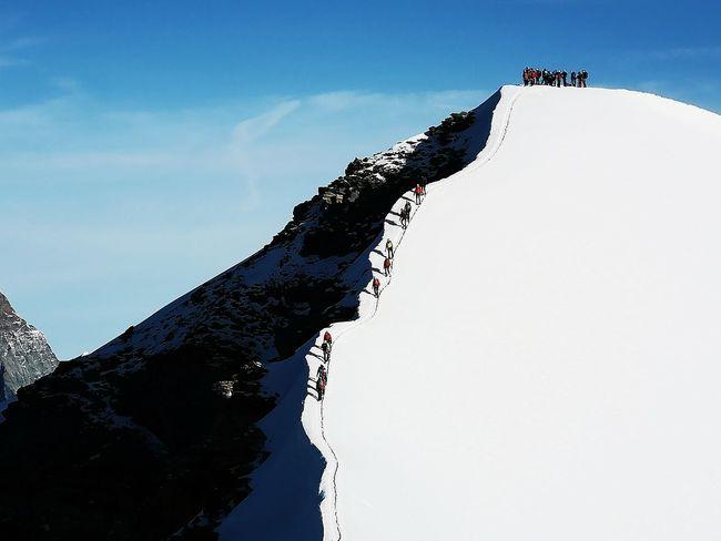 Bellissima salita finale prima della vetta! Mountain Peak Idyllic Blue Sky Tranquil Scene Mountain Top Silhouette Sky Tranquility Scenics Rocky Mountains Mountain Range Non-urban Scene Remote