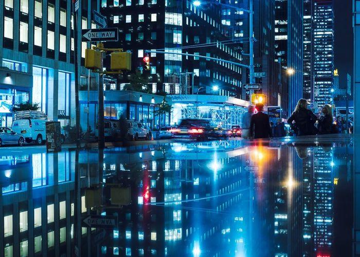 - Night Life NYC Streetphotography EyeEm EyeEm Best Shots Travcimages Eye4photography  eyeemphoto Popular Photos EyeEm Gallery Night Building Exterior Architecture Built Structure City HUAWEI Photo Award: After Dark Reflection City Life HUAWEI Photo Award: After Dark