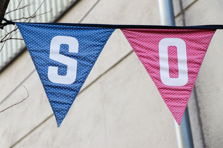 Close-up of triangle banners with letters