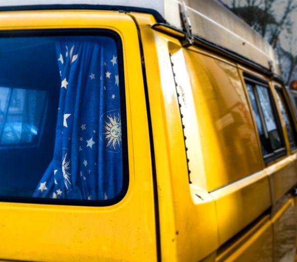 Moon&sun  Sun Moon Yellow Car Hippie Yellow Mode Of Transport Transportation Public Transportation No People Window Outdoors Day Blue Land Vehicle Close-up