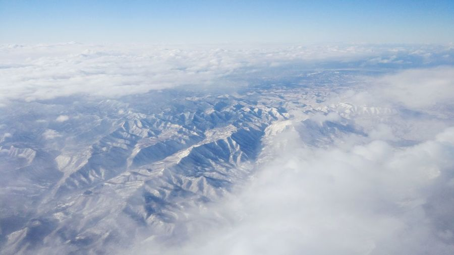 Snow Mountain Aerial View Blue Sky Landscape