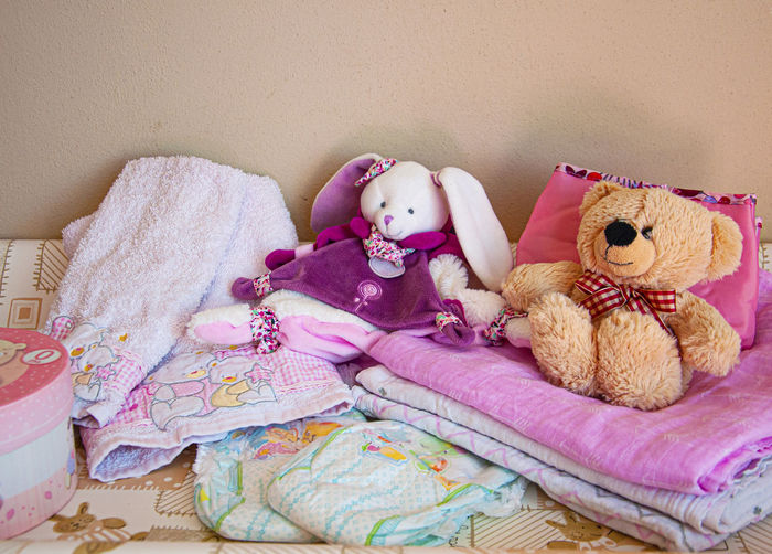 High angle view of stuffed toy on bed at home