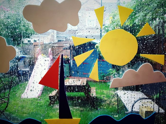 Thinks100 day 23. Yellow Rainy Day Indoors  Looking Out Sunshine From My Window Raindrops Make My Own Sunshine