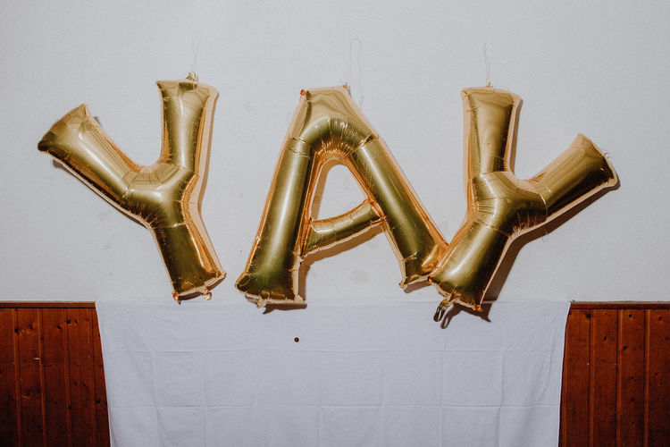 YAY letters party Celebration Glitter Gold Happiness Letters Partying Wedding Art And Craft Background Close-up Gold Colored Hanging Indoors  No People Party Photobooth White Background Yay Fresh On Market 2017