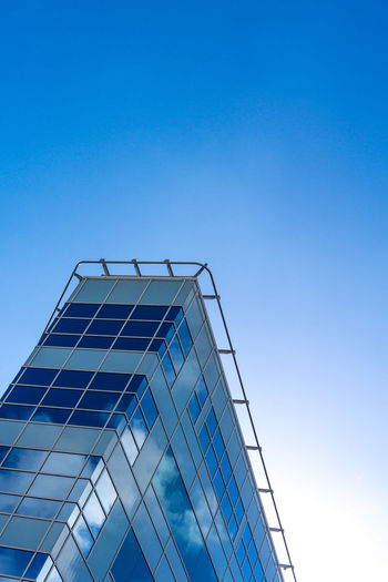 Angles And Lines Architecture Blue Blue Sky Blue Wave Building Built Structure Clear Sky Clouds And Sky Day High Section Low Angle View Manchester Minimal Minimal Architecture Minimalism Modern No People Office Building Outdoors Reflection Sky Tall - High