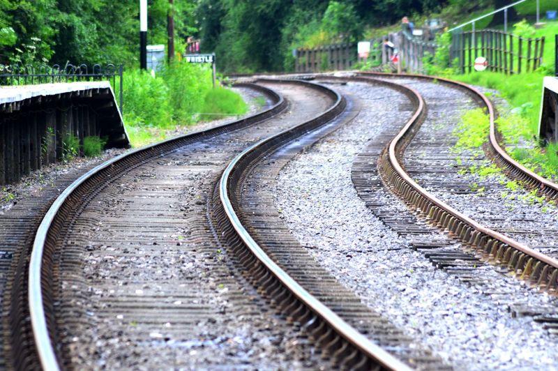Curve railroad tracks