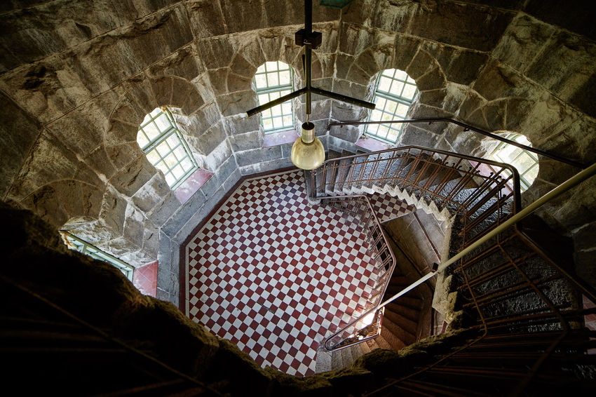 High angle interior view in Aulanko lookout tower in Finland. Architecture Aulanko Building Day Finland High Angle View Hämeenlinna Indoors  Interior Interior Views Interiors Nature Park  Nature Reserve No People Stair Staircase Stairs Tower Window Windows