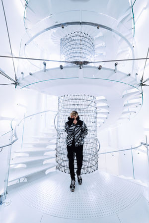 Full Length One Person Front View Indoors  Real People Young Adult Standing Architecture Casual Clothing THE NORTH FACE Exploring Architecture EyeEm White Background Light Street Fashion Interior Design Spiral Staircase Travel Cool Wide Angle Check This Out Taking Photos Fashion