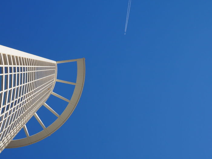 Architecture Blue Clear Sky Day High Low Angle View Nature No People Outdoors Plane Reaching The Sky Sky Skyscraper