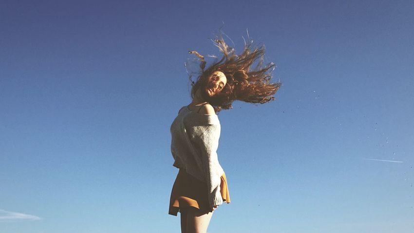 Girl Jump Blue Sky Hair Curly Hair Brandymelville Stopping Time Open Edit 43 Golden Moments