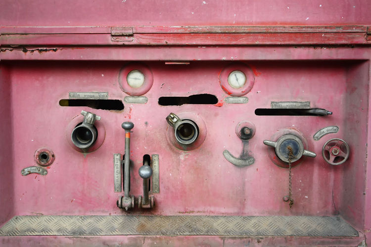 Close-up Connection Control Day Door Electricity  Entrance Full Frame Machinery Metal No People Old Outdoors Pink Color Power Supply Protection Red Safety Security