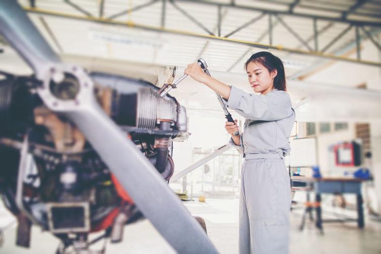 Female engineer working in industry