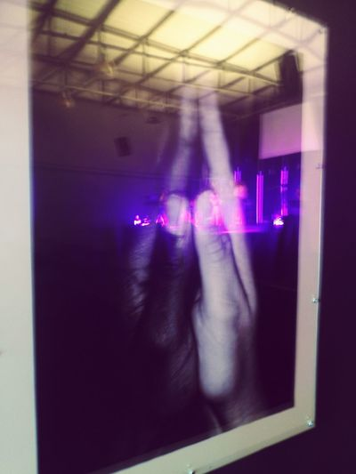 Praying Hands Reflection Illuminated Technology Nightclub Close-up