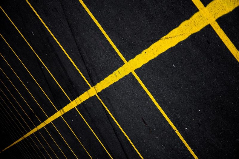 High Angle View Of Road Markings
