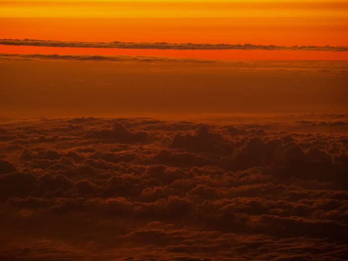 Sunset Sky Beauty In Nature Scenics - Nature Cloud - Sky Nature Tranquility No People Tranquil Scene Orange Color Dramatic Sky Environment Idyllic Cloudscape Aerial View Outdoors Landscape Sunlight Horizon