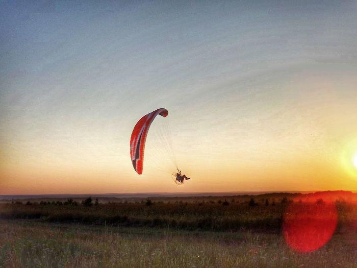 Hot air balloon in sky