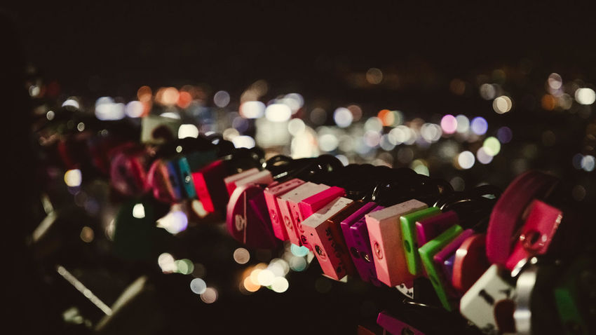 Abundance ASIA Bokeh Lights City Lights At Night Close-up Date Night Focus On Foreground Hope Illuminated Korea Large Group Of Objects Love Love Is In The Air Love Lock Mountain View Multi Colored Namsan Night Night Lights No People Outdoors Padlock Romantic Place Selective Focus Seoul