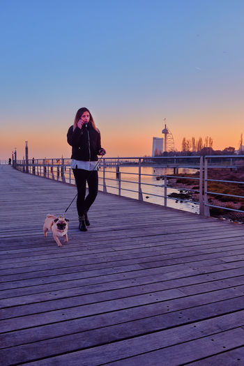 Man with dog in background against sky during sunset