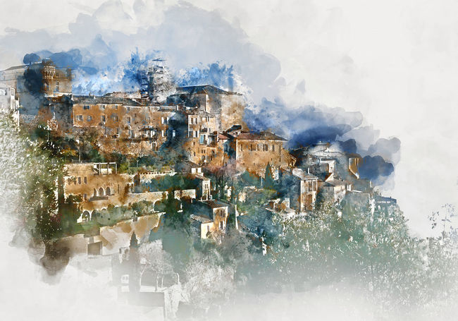 Digital watercolor painting of Gordes, is a very beautiful hilltop village in France. Provence-Alpes-Cote d'Azur region Abstract Altered Ancient Architecture Art ArtWork Computer Generated Digital Art Digital Drawing Digital Illustration Digital Painting Digitally Generated Europe France Gordes Hilltop History Illustration Landmark Landscape Nature Outdoors Provence-Alpes-Cote D'Azur Travel Destinations Vaucluse Watercolor