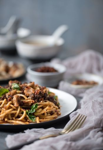 Chili noodles😍 Food Food And Drink Ready-to-eat Plate Freshness No People Table Healthy Eating Wellbeing Close-up Meal Indoors  Bowl Still Life Italian Food Pasta Serving Size Asian Food Focus On Foreground Vegetable