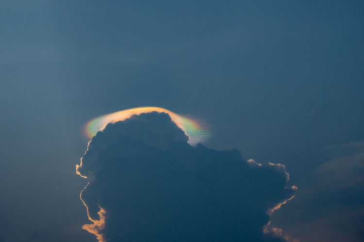 The multicolored lenticular cloud in the sky