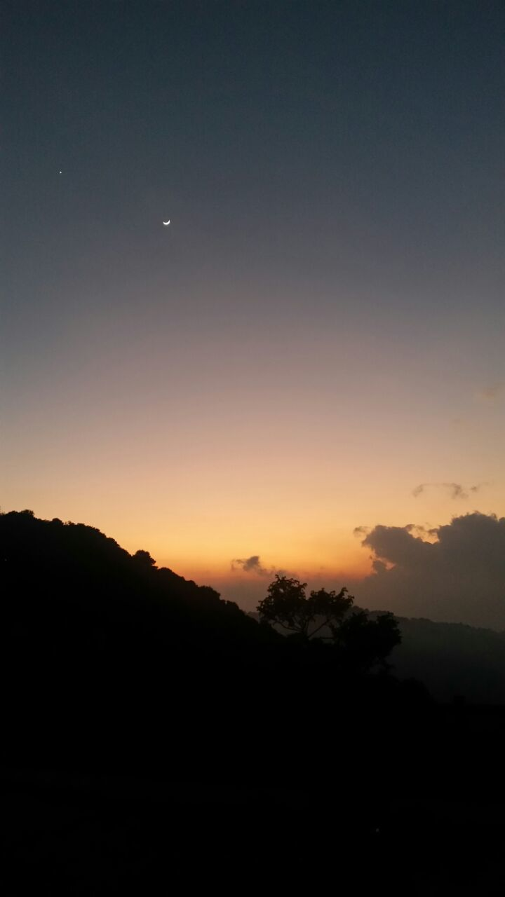 sunset, nature, silhouette, tranquil scene, beauty in nature, scenics, moon, sky, tranquility, tree, no people, outdoors, mountain, landscape, night, crescent, astronomy, space
