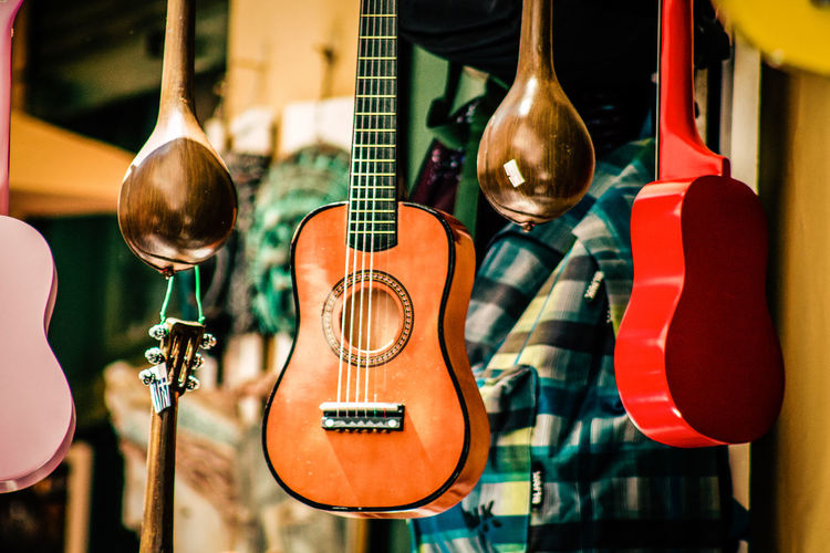 Musical instruments for sale in store