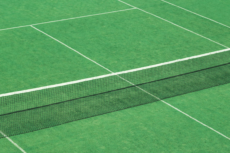 Sport Green Color Tennis Court No People Grass Absence Day Competition Single Line High Angle View Playing Field