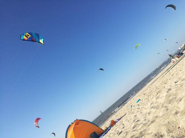 Blue sky in a beach in Portugal. Adventure Alcochete Beach Beach Portugual Clear Sky Extreme Sports Flying Kite Kite - Toy Kiteboarding Kitesurfing Leisure Activity Nature Parachute Parasailing Praia Praias De Portugal Sea Summer Verão Wind
