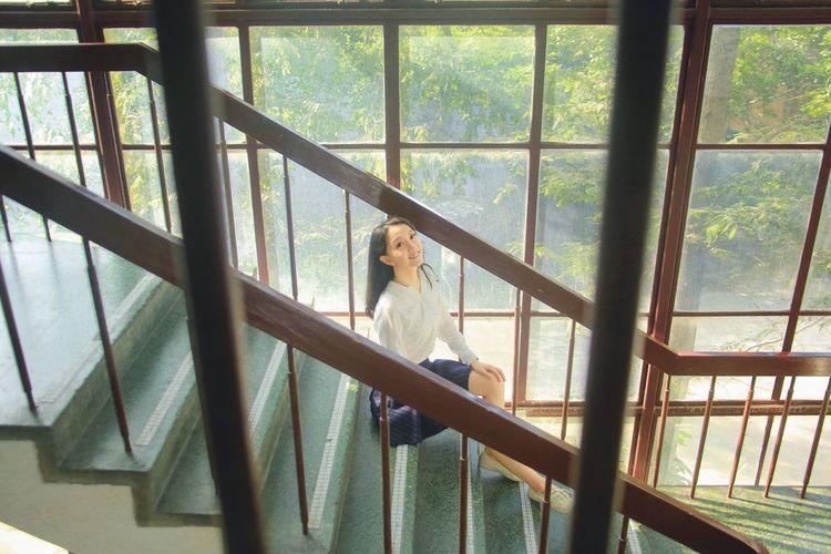 Campus life Graduate Fudan University Student Life Campus Summer Uniform Smile Pretty Girl Love Life Staircase Window Sunshine Tree