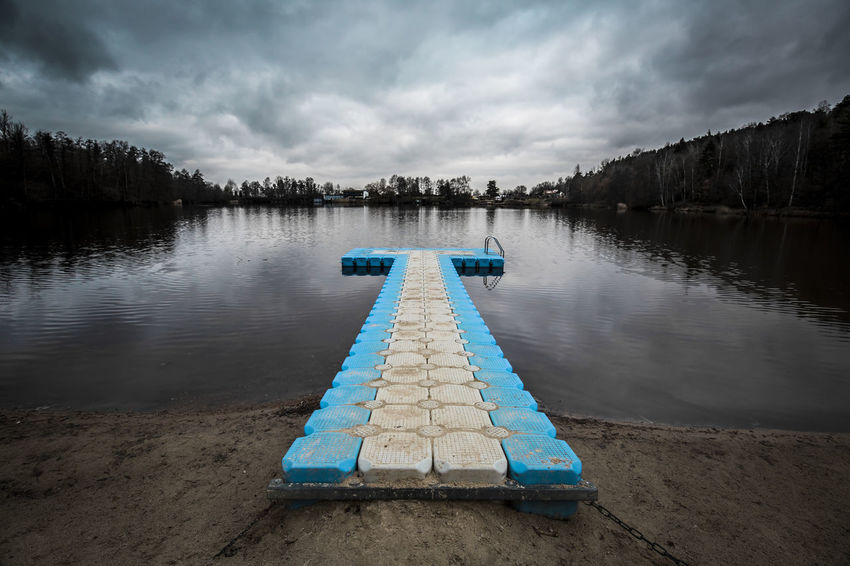 Floating Bridge Pontoon Bridge Beauty In Nature Cloud - Sky Day Direction Idyllic Lake Lake View Lakeside Nature No People Non-urban Scene Outdoors Pier Pontoon Reflection Scenics - Nature Sky Swimming Pool Swimming Pool In Winter Tranquil Scene Tranquility Tree Water Autumn Mood