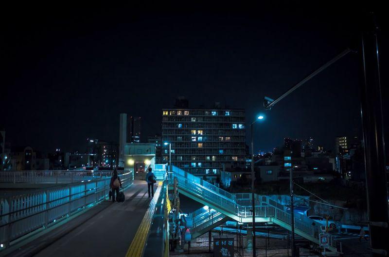 Elevated Walkway At Night