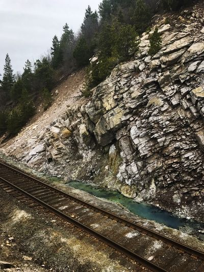 Railroad tracks along the river bank 🚂 Railroad Track Rail Transportation Rock - Object No People Outdoors Nature Scenics Beauty In Nature Water Springs IPhoneography Exploring Treescape Springs Preserve The Secret Spaces