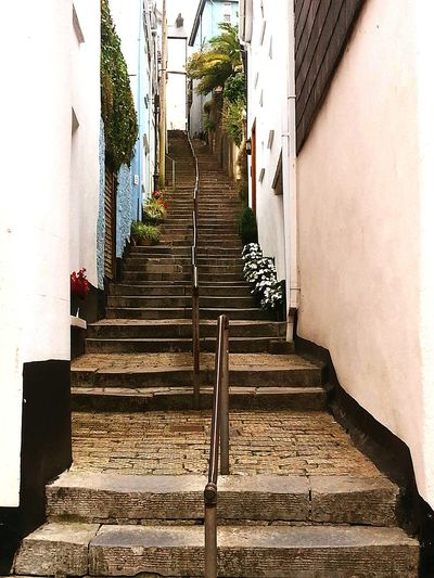 Stairway To Heaven Heart Stopper Devon English Countryside Small Town Dartmouth Stone Steps Narrowpath The Only Way Is Up Shadows & Lights