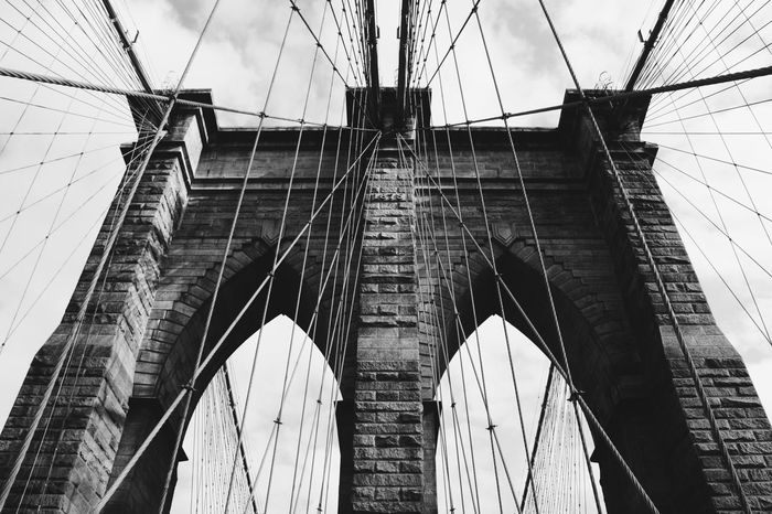 Architecture Bridge - Man Made Structure Built Structure Cable Connection Day Low Angle View No People Outdoors Sky Suspension Bridge