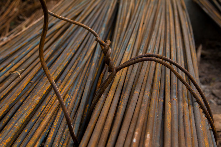 Close-up of steel cables