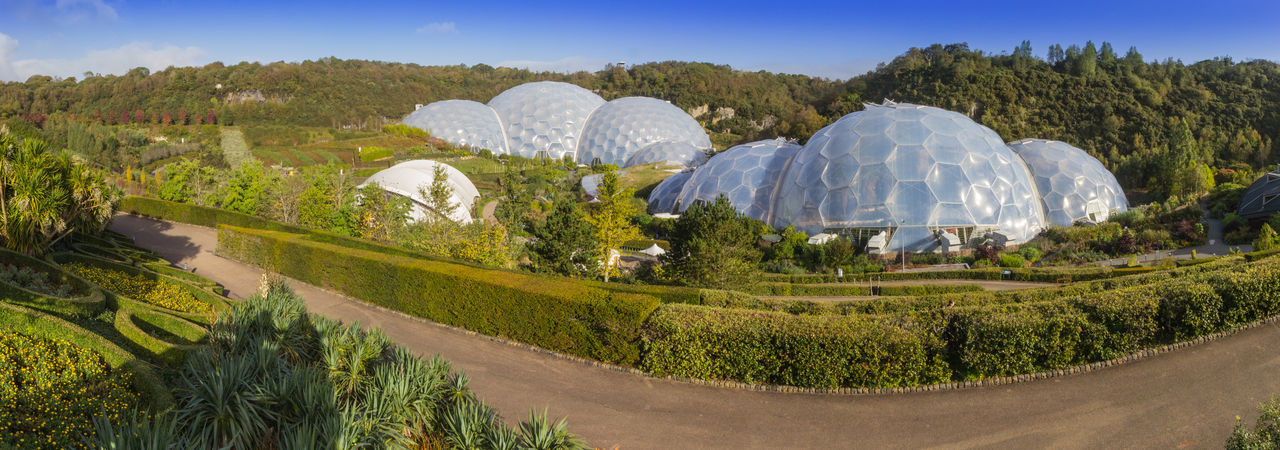 The Eden Project is a popular visitor attraction in Cornwall, England. Inside the two biomes are plants that are collected from many diverse climates and environments. The project is located in a reclaimed Kaolinite pit, located from the town of St Blazey and from the larger town of St Austell, Cornwall. Planted Landscapes Wildlife Native Andrew Read ArtWork Bodelva Eden Project Garden Of Eden Kaolinite Pit Multiple Greenhouse Complex St Blazey The Tropical Biome Tim Smit Tourist Attraction  Trees Cornwall Uk Designed By Architect Anthony Hunt And Associates Diverse Climates Early Morning Sky England Environments Landscape Design Plants And Flowers Popular Visitor Attraction Tourism Two Biomes
