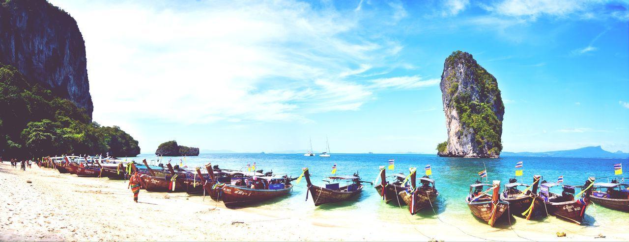 Fishing boats moored at shore