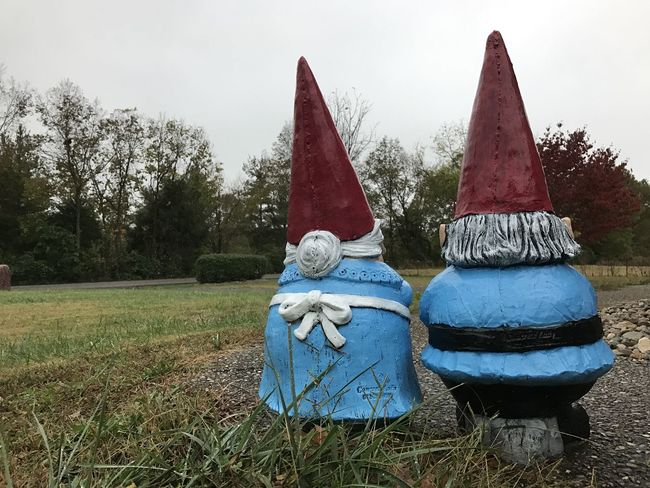 Color Blue Color Red Gnomes Grass Mr. And Mrs. No People Outdoors Sky Tree