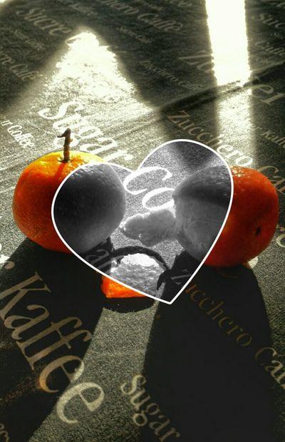 Love Fruit Love Fruits Table Heart Black & White Orange Color