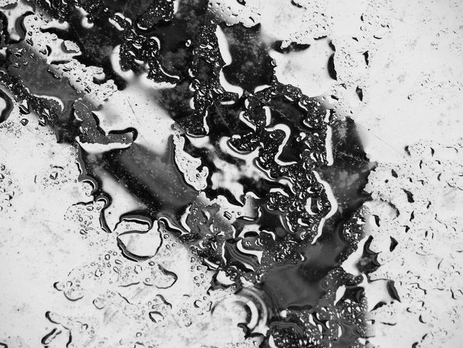 Black & White Bubbles Drops Loneliness Rain Rainy Days Silhouette Abstract Backgrounds Black And White Blackandwhite Blackandwhite Photography Close-up Contrast Day Drop Nature No People Sadness Water