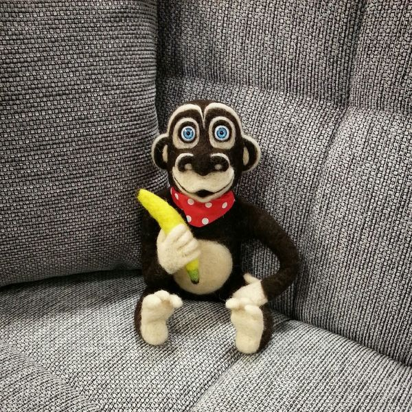 Monkey Felt ArtWork Needlefelting