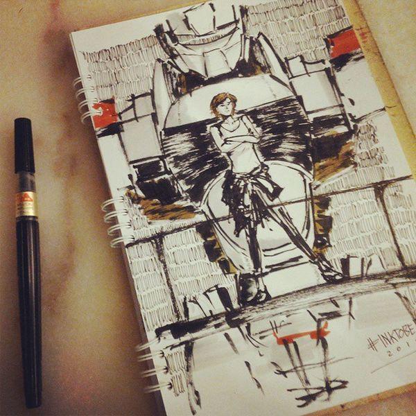 "Inktober doodle : ""AV-98 The Next Generation"" Day 12 Inktober Patlabor Doodle Illustration Speee Noa Izumi doodle ?"