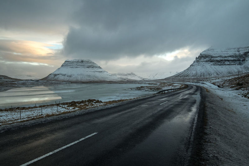 Road Mountain Cold Temperature Environment Snow Winter Sky Cloud - Sky Scenics - Nature Landscape Beauty In Nature Transportation Tranquil Scene Direction Nature Mountain Range The Way Forward Tranquility Water No People Snowcapped Mountain Ice Outdoors Iceland