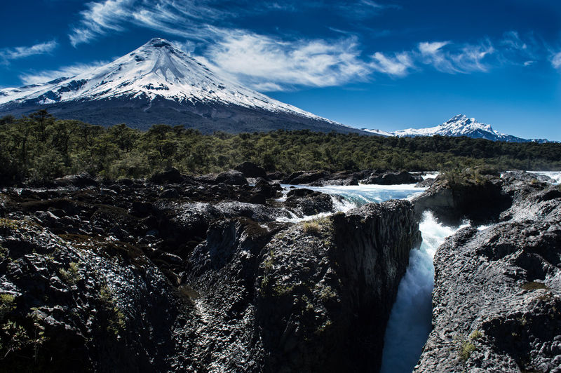 Scenic view of waterfall against snowcapped mountains